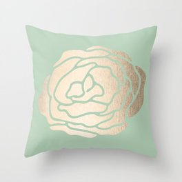 Rose White Gold Sands on Pastel Green Cactus Throw Pillow