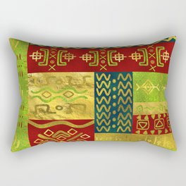 Ethnic African Golden Pattern on color Rectangular Pillow