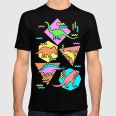 Nineties Dinosaur Pattern Black Mens Fitted Tee MEDIUM