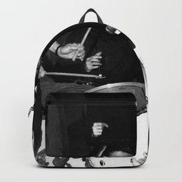 Livin' la Vida Loca, Exuberant Brunette Dancing black and white photograph / photograph Backpack