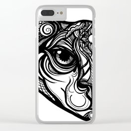 Tribal Cat Clear iPhone Case