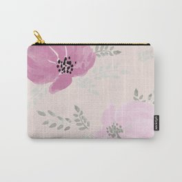 Pink watercolor peonies on peach background Carry-All Pouch