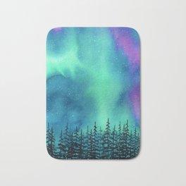 """""""Wilderness Lights"""" Aurora Borealis watercolor landscape painting Bath Mat"""
