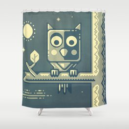 Night owl graphic design Shower Curtain