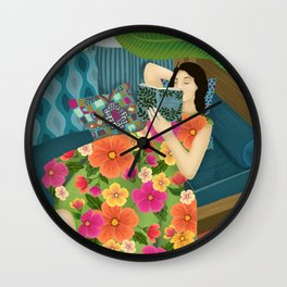 Women Who Read Are Dangerous- Woman reading plant filled room Wall Clock