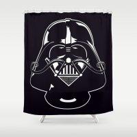 vendetta Shower Curtains featuring V for Vader by greckler