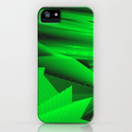 Psychedelic foil green landscap with stylised mountains, sea and Sun. iPhone Case