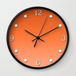 Sunny tangerine, gradient, Ombre. Wall Clock