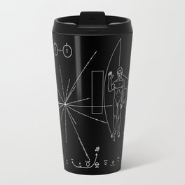 Nasa Pioneer Space Craft Plaque White Text on Black Alien Message Travel Mug