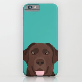 Chocolate Lab peeking dog head labrador retriever must have funny dog breed gifts iPhone Case