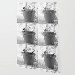 Songbird (Great Tit) on Autumn Day Black and White #decor #society6 #buyart Wallpaper