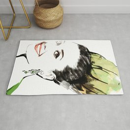 Classical Beauty, Fashion Painting, Fashion IIlustration, Vogue Portrait, Black and White, #13 Rug