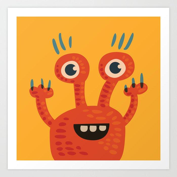 Funny Orange Monster Is Happy Art Print