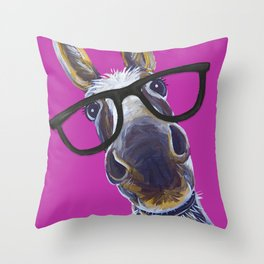 Up Close Donkey Art, Donkey with Glasses Art Throw Pillow