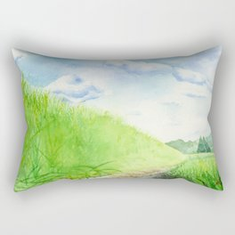 Paddy Field , Art Watercolor Painting print by Suisai Genki  Rectangular Pillow