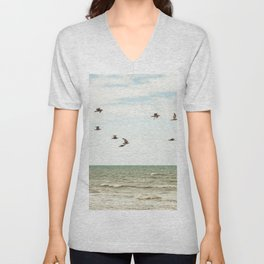 BIRDS - OCEAN - WAVES - SEA - PHOTOGRAPHY Unisex V-Neck