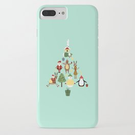 Christmas tree with reindeer, Santa Claus and bear iPhone Case