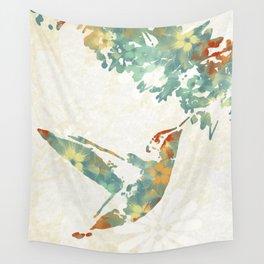 Colorful Teal Hummingbird Art Wall Tapestry