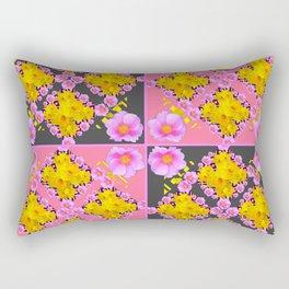 Pink-Grey Quarter Panel Floral Pattern Rectangular Pillow