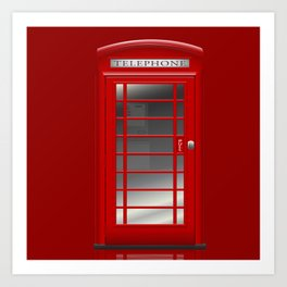 London Telephone Red Call Box Art Print