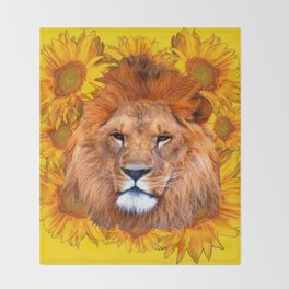 YELLOW TAWNY AFRICAN LION & GOLDEN SUNFLOWERS Throw Blanket