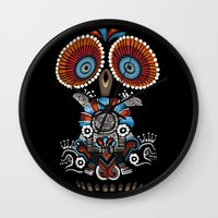 mexican Wall Clocks featuring Mexican Owl by Msimioni