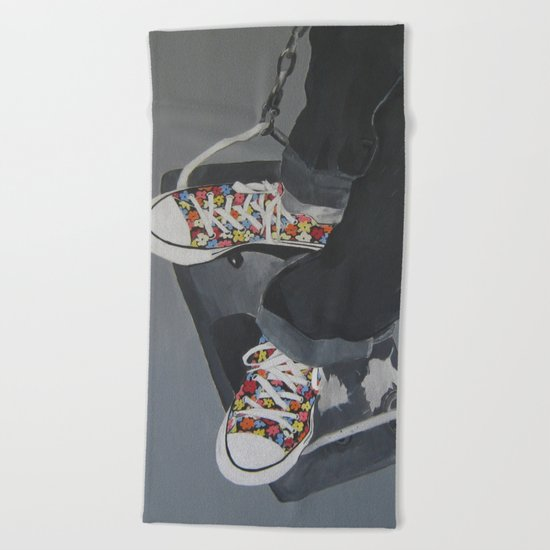 Flowered Converse shoes on a swing Beach Towel