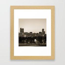 Denver Skyline and Rocky Mountains - Square Art Sepia Framed Art Print