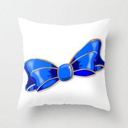 Blue Silk Bow Throw Pillow