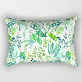 Tropical Leaves Watercolor Pattern Rectangular Pillow