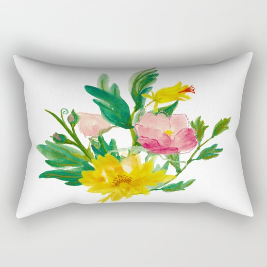 Watercolor Bouquet of Yellow and Purple Peonies Rectangular Pillow