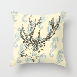 Reindeer with Seahorses Throw Pillow