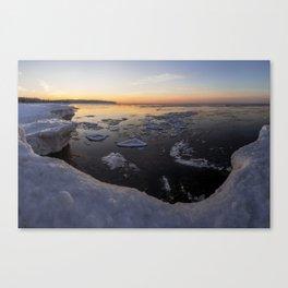 Frozen Herbster Beach during a Winter Sunset Canvas Print