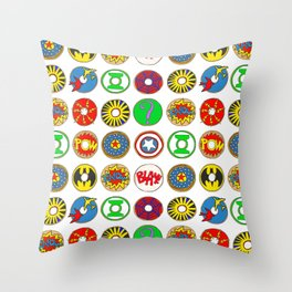 Superhero Donuts Throw Pillow