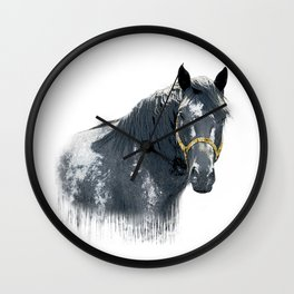 Horse with Golden Bridle Wall Clock