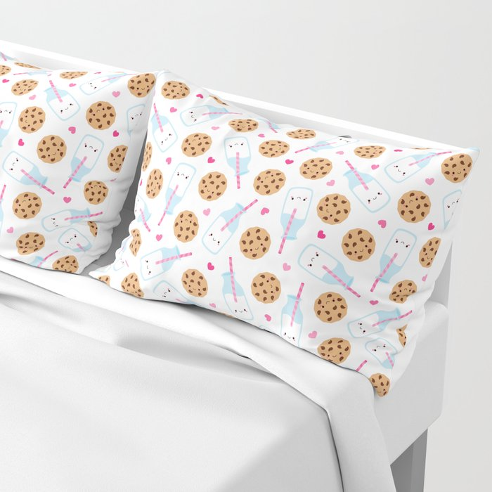 Happy Milk and Cookies Pattern Pillow Sham
