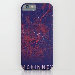 McKinney, TX, USA, Blue, White, City, Map iPhone Case