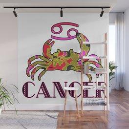 Pink & Green Retro floral print Cancer Crab & Zodiac Sign Wall Mural