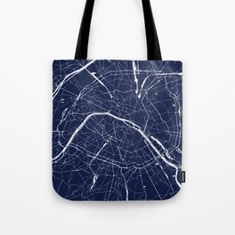 Paris France Minimal Street Map - Navy Blue and White Reverse Tote Bag