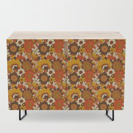 Retro 70s Flower Power, Floral, Orange Brown Yellow Psychedelic Pattern Credenza