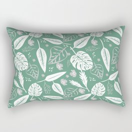 Emerald Leaves Pattern Rectangular Pillow