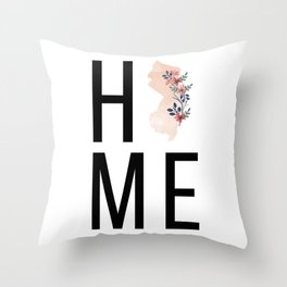 Home New Jersey State Floral Watercolor Throw Pillow