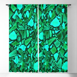 Deep Emerald and Neo Mint Terrazzo Blackout Curtain