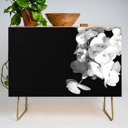 White Orchids Black Background Credenza