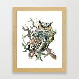 Great Horned Owl in Woods Framed Art Print