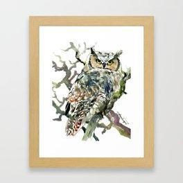 Great Horned Owl in Woods, woodland owl Framed Art Print