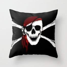 Creepy Pirate Skull and Crossbones Throw Pillow