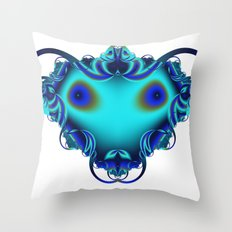 Face Blue Throw Pillow