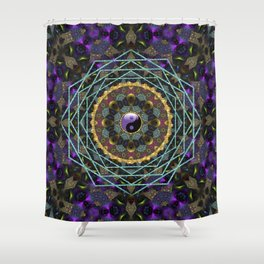 Purple Yin Yang Sacred Geometry Fractals Shower Curtain