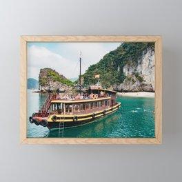 Vietnamese Boat in Halong Bay Framed Mini Art Print